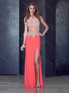 Column Watermelon Red Homecoming Dress with High Slit and Appliques