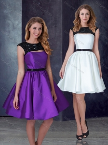 Exclusive A Line Taffeta Prom Dress with Appliques and Belt
