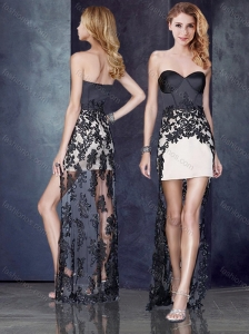 High Low Black and Champagne Homecoming Dress with Lace