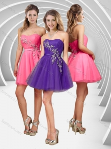 Latest A Line Applique with Beading Short Prom Dress in Tulle