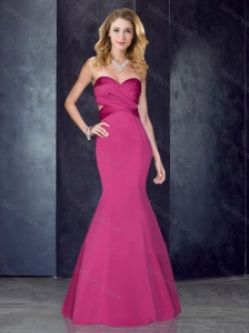 Mermaid Sweetheart Backless Hot Pink Homecoming Dress in Satin