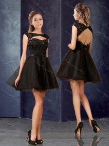 Pretty Open Back Bateau Black Homecoming Dress with Lace and Belt