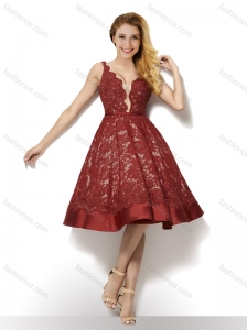 Wonderful Deep V Neckline Backless Laced Prom Dress in Red