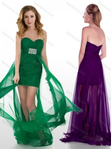 Elegant High Low Tulle Beaded Junior Prom Dress with Brush Train
