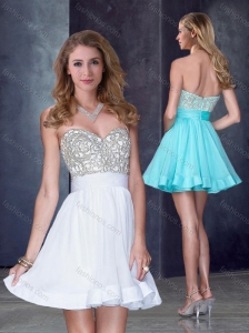 Hot Sale Short Sweetheart White Junior Prom Dress with Beading in Organza