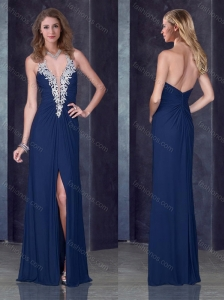 Navy Blue Halter Top Junior Prom Dress with High Slit and Appliques
