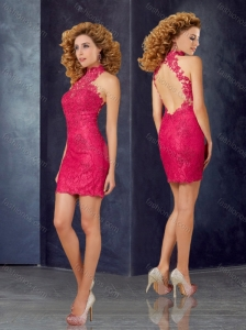 New Style Column High Neck Laced Homecoming Dress with Open Back