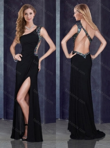 One Shoulder Backless Black Junior Prom Dress with Beading and High Slit