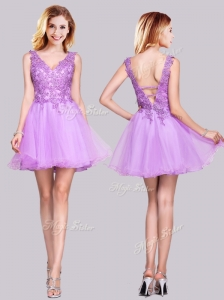 Popular V Neck Organza Backless Applique and Lace Homecoming Dress in Lilac