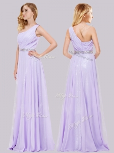 Simple One Shoulder Belted with Beading Homecoming Dress in Lavender