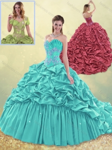 2016 Exquisite Brush Train Taffeta Quinceanera Dress in Aqua Blue for Winter