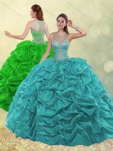 2016 Pretty See Through Scoop Beaded and Bubble Green Quinceanera Dress for Winter