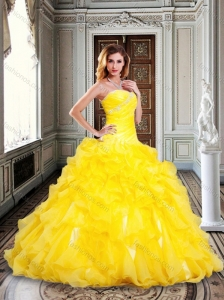 2016 Fashionable Princess Yellow Sweet 16 Dress with Beading and Ruffles forWinter