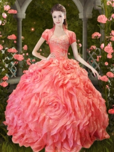 Luxurious Puffy Skirt Beaded and Ruffled Quinceanera Dress in Orange Red
