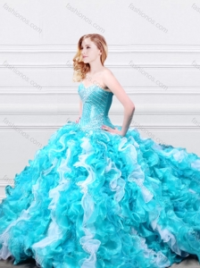 Modern Beadede and Ruffled Quinceanera Gown in Aqua Blue and White