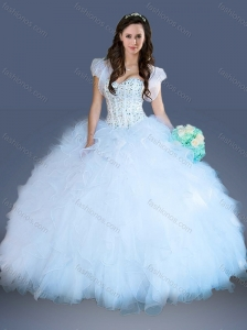 Really Puffy White Quinceanera Dress with Beading and Ruffles