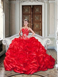 2016 Beaded and Ruffled Red Sweet 16 Dress with Brush Train for Winter