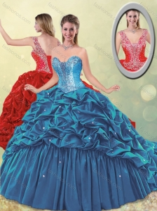 2016 Elegant Puffy Skirt Beaded Teal Quinceanera Dress with Brush Train for Winter