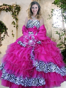 2016 Strapless Zebra and Hot Pink Quinceanera Dresses with Ruffles and Bowknot for Winter