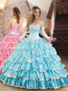 Elegant Organza Quinceanera Dress with Beading and Ruffled Layers