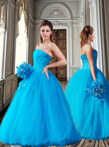 New Style Strapless Ball Gown Sequined Sweet 16 Dress in Teal