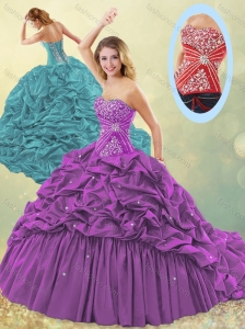 Popular Big Puffy Brush Train Taffeta Quinceanera Dress in Purple