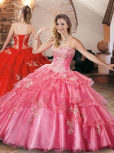 New Style Applique and Beaded Quinceanera Dress in Organza