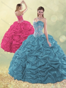 Latest Taffeta Teal Quinceanera Dress with Beading and Bubbles