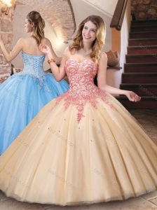 Classical Big Puffy Champagne Quinceanera Dress with Appliques and Beading