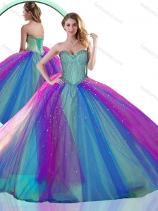 Colorful Multi Color Quinceanera Dress with Beading
