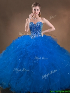 Perfect Big Puffy Beaded and Ruffled Sweet 16 Dress in Blue