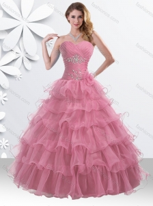 Princess Watermelon Red Sweet 16 Gown with Beading and Ruffled Layers