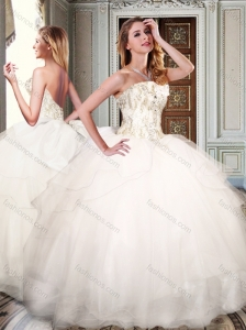 Simple Strapless White Quinceanera Dresses with Appliques and Beading