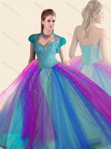 Beautiful Beaded Multi Color Quinceanera Dress in Tulle