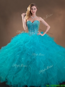 Big Puffy Teal Sweet 16 Gown with Beading and Ruffles