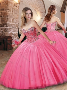 Cheap Beaded Bodice Really Puffy Quinceanera Dress in Hot Pink