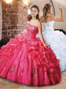 Classical Strapless Applique and Bubble Quinceanera Dress in Organza