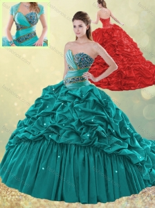 Luxurious Brush Train Taffeta Bubble Quinceanera Dress in Turquoise