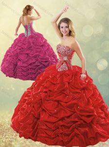 New Style Puffy Skirt Bubble Red Quinceanera Dress in Taffeta