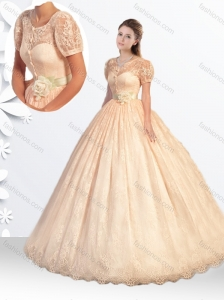 Princess Scoop Laced Champagne Quinceanera Dress with Handcrafted Flowers
