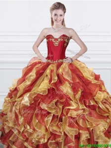 Romantic Applique and Ruffled Organza Quinceanera Dress in Red and Yellow
