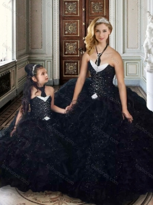 Black Princesita With Quinceanera Dresses with Beading and Ruffles
