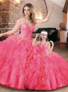 Cheap Halter Top Organza Princesita Quinceanera Dresses in Hot Pink