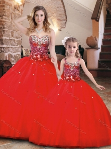 Elegant Beaded Bodice Tulle Princesita Quinceanera Dresses in Red