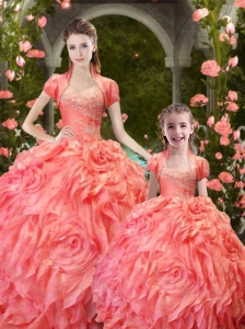 Exclusive Orange Red Princesita Quinceanera Gowns with Ruffles and Beading
