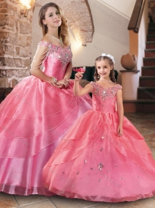 Gorgeous Beaded Rose Pink Princesita Quinceanera Dresses in Organza