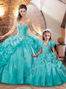 Latest Beaded and Bubble Turquois Princesita Quinceanera Dresses in Organza