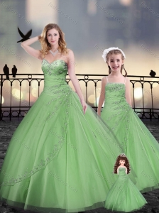 Ball Gown Princesita with Quinceanera Dresses in Spring Green with Beading and Appliques