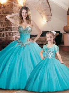 Exquisite Visible Boning Tulle Princesita Quinceanera Dresses in Aqua Blue