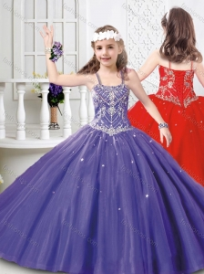 Modest Straps Beaded Mini Quinceanera Dress in Tulle for 2016